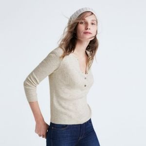 Madewell Henley Pullover Sweater in Natural Gray